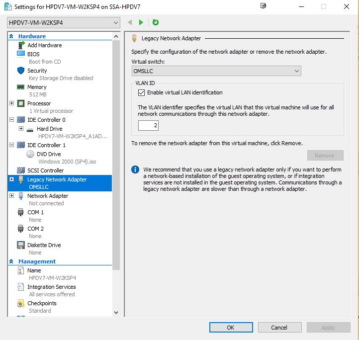 W2K VM settings