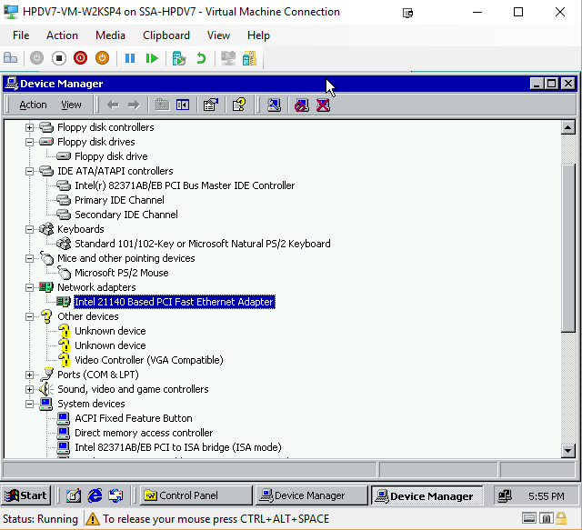 W2K VM Device Manager