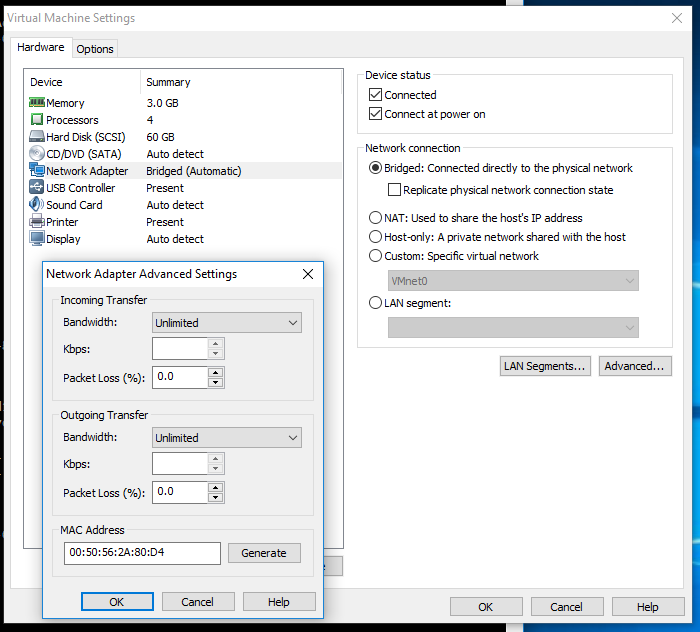 Vmware Network Settings