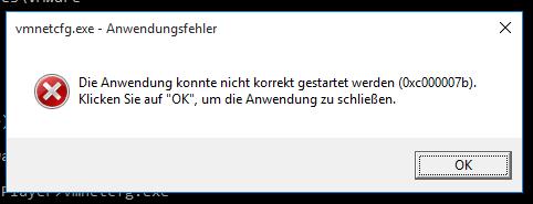 vmnetcfg.exe - Application error