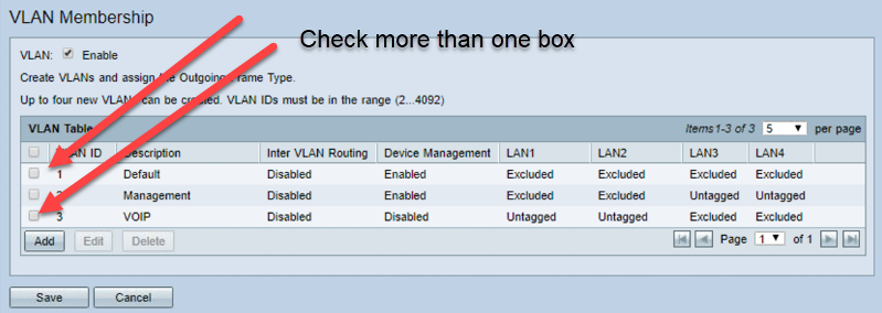 Choosing muliple VLANs for changing settings