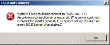 Can't login to vcenter - 503 error - server could not