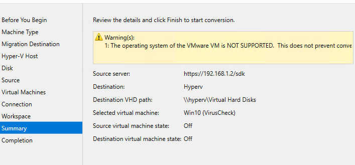 Error when trying to convert VMWare VM to Hyper-V server
