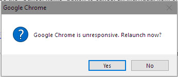 Screenshot of error message from Chrome