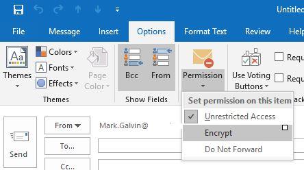 Encrypt button in Outlook