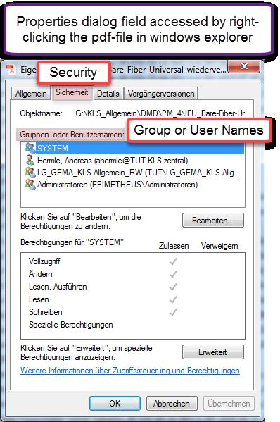 security tab file properties