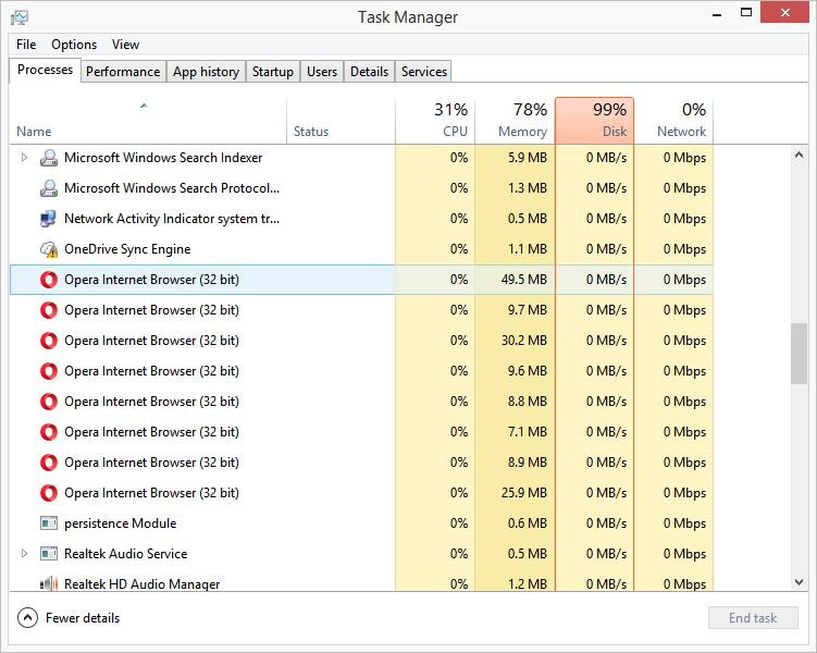Task Manager - Too many opera processes