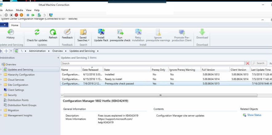 Determine if earlier SCCM 2016 update needs to be installed
