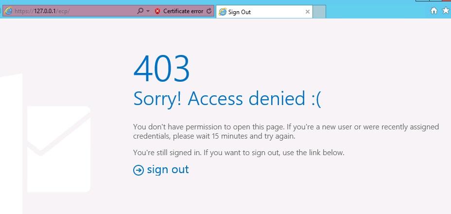 Exchange 2013 show 403 access denied when logging in ECP