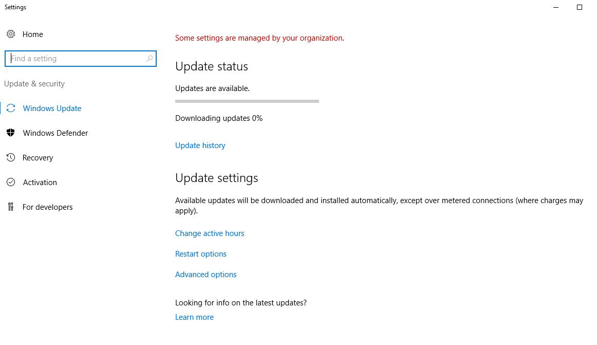downloading updates stuck at 0 server 2012
