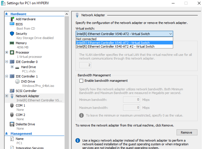 How to assign two virtual network switches to Hyper-V virtual machine