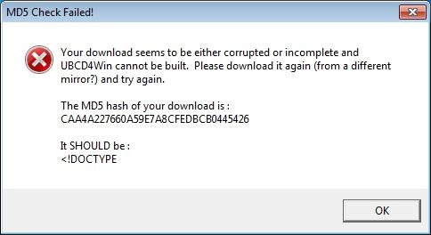MD5 hash fail