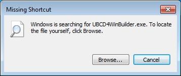 ubcd4winbuilder.exe missing shortcut