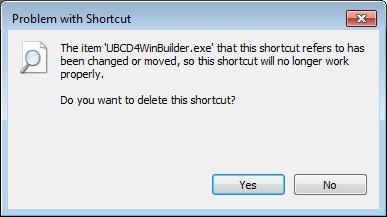 ubcd4winbuilder.exe shortcut problem