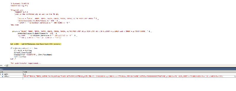 Screenshot of debugging..