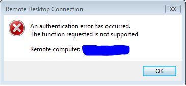 When using RDP to a server this error occurs: \u0027An authentication