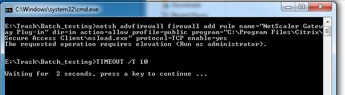 Is there a way to elevate permissions for a batch file