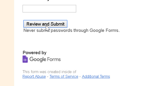 This is presented at the end of the Google form's 3 questions.