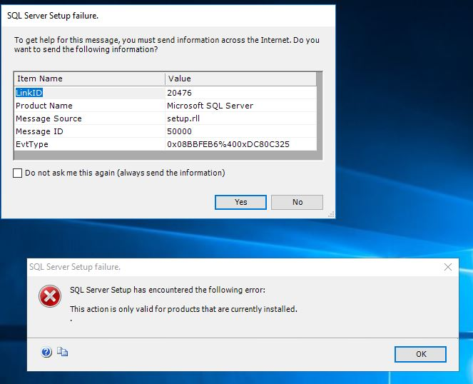 MSSQL 2016 on Win2k16 install error: This action is only valid for