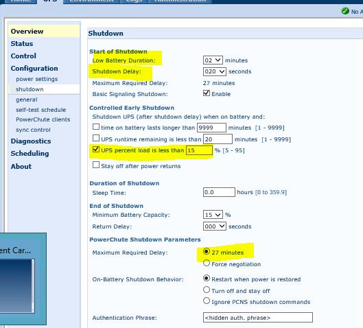 APC UPS Shutdown Configuration