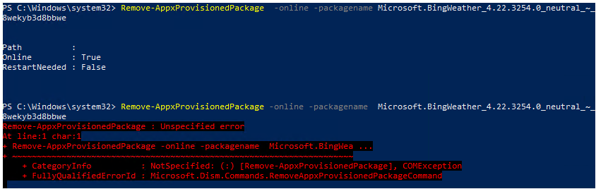 Problem with Remove-AppxProvisionedPackage on a fresh