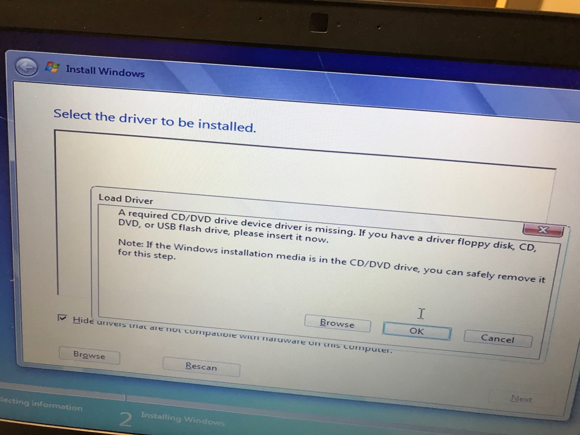 Cannot install Windows 7 Professional SP1 OS due to