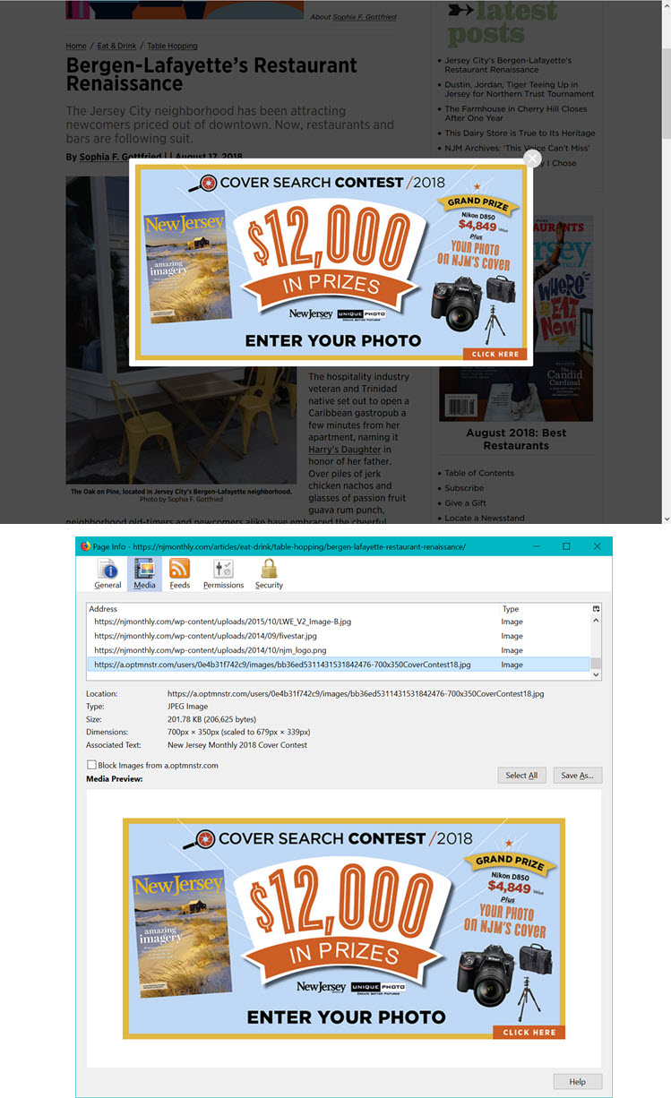 Combined screenshots shoing the pop-up and details of the image file