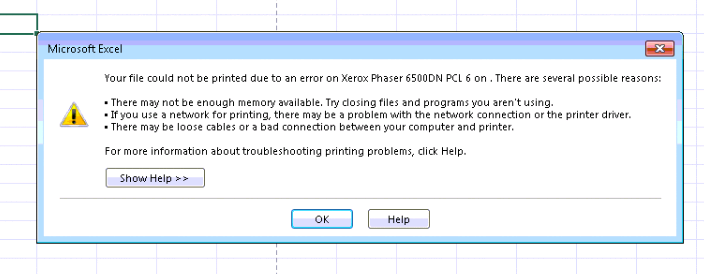 Xerox printer says error message regarding 32 bit print