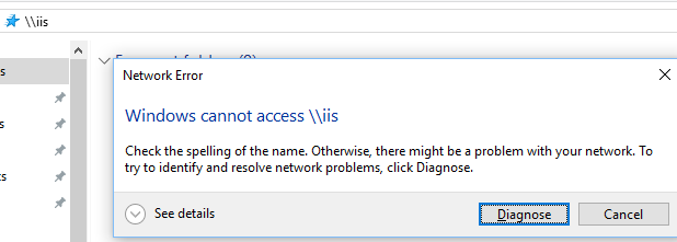 Browsing by computer name - Failed