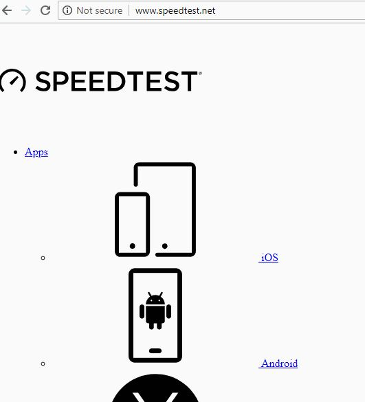 speedtest.net page