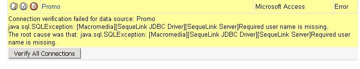 CF Datasource Connection Error