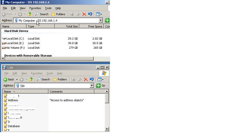 Shared Folder Listing inside IIS computer