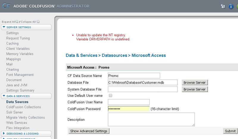 CF Admin Data Source Error
