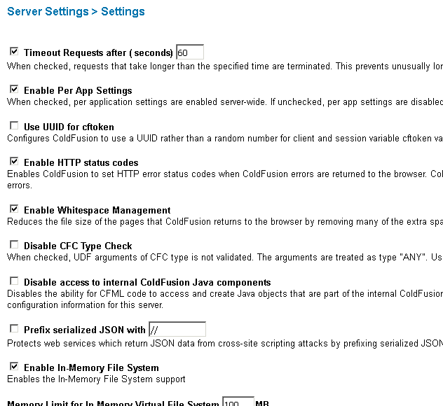 Server Settings Page 1
