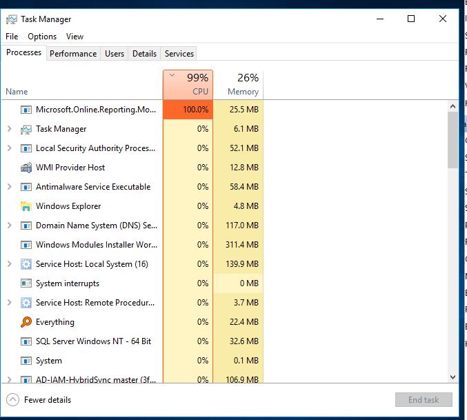 MS-Online-Reporting CPU hog