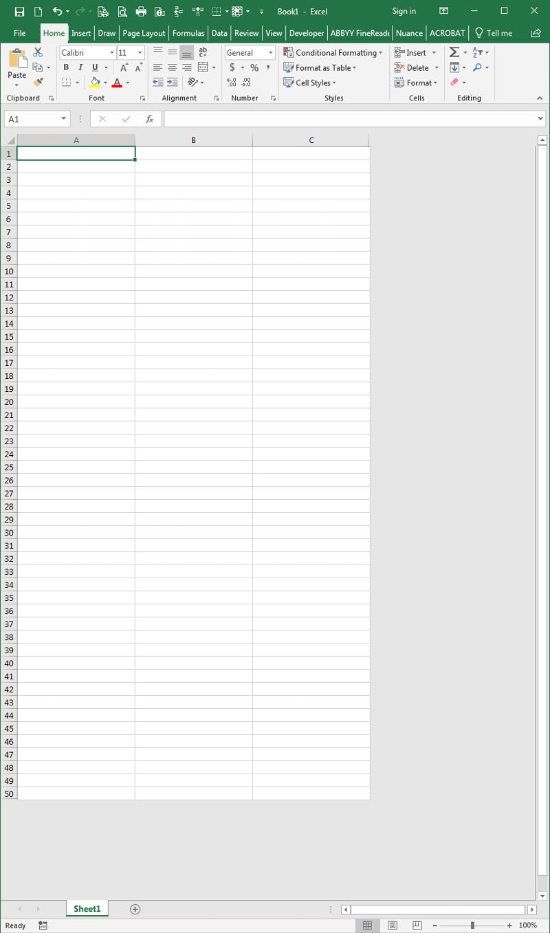 excel 50 rows 3 columns