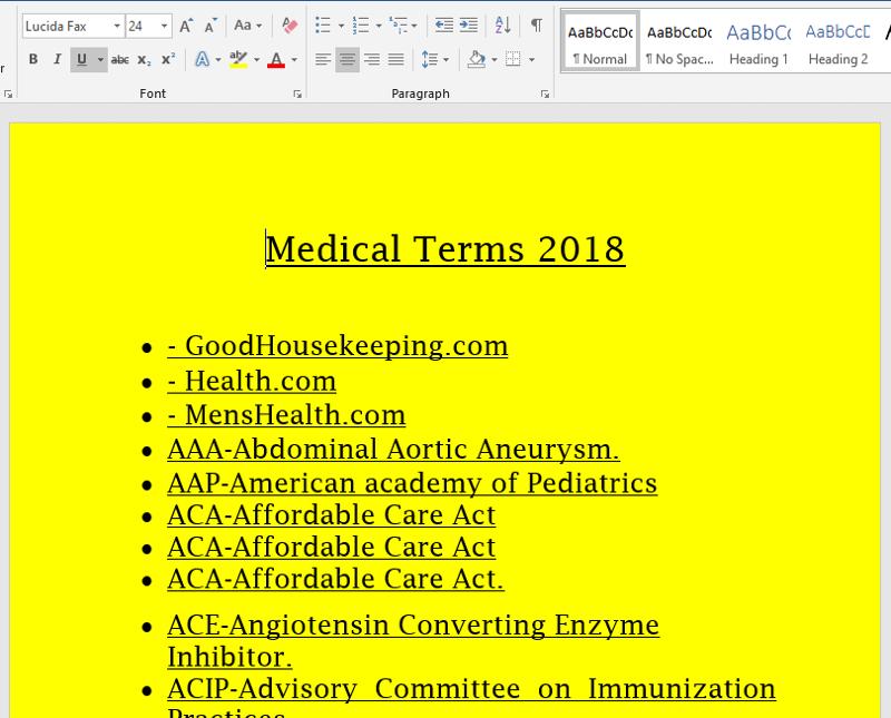 Medical Terms Sample