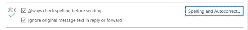Outlook's Autocorrect button