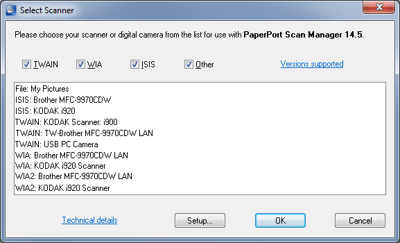 pp14.5 select scanner dialog