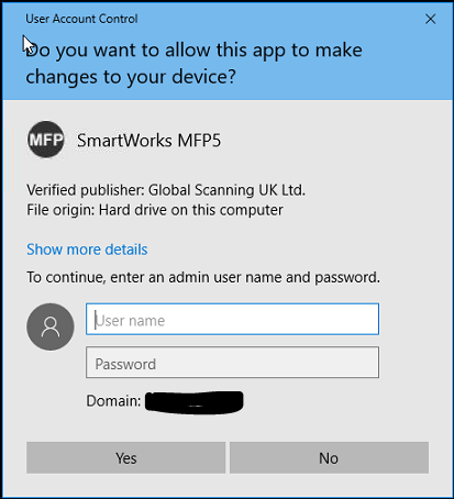 UAC MESSAGE WHEN LAUNCHING MFP SMARTWORKS