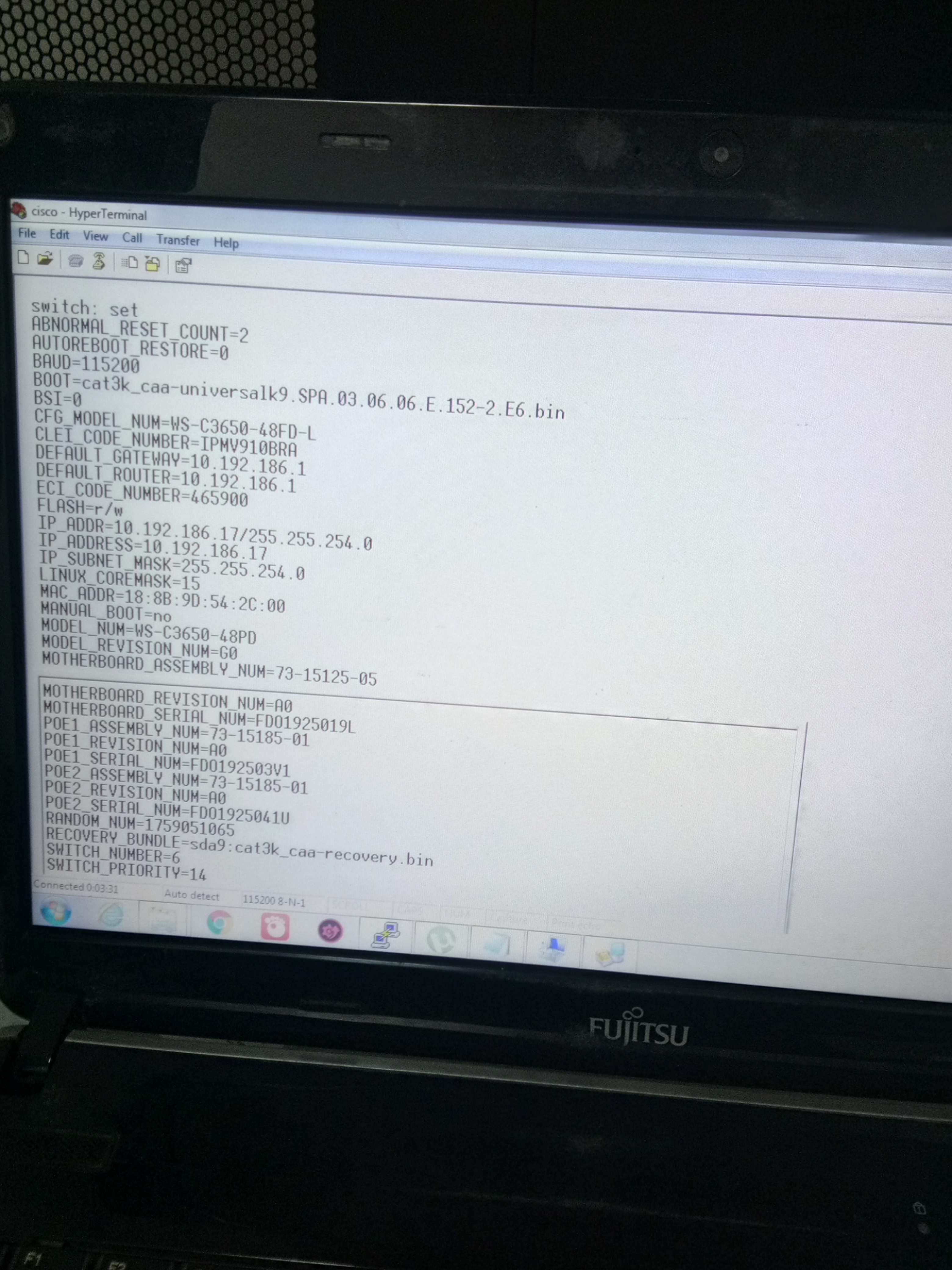 Cisco 3650 xmodem