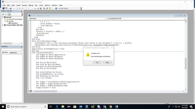 Image of the Error message