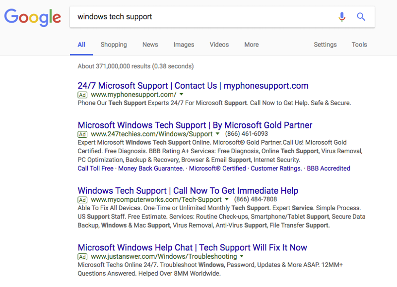tech support searches