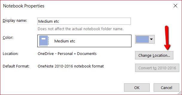 OneNote notebook properties