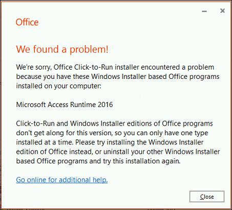 Conflict between Windows Installer and Click-to_Run Editions
