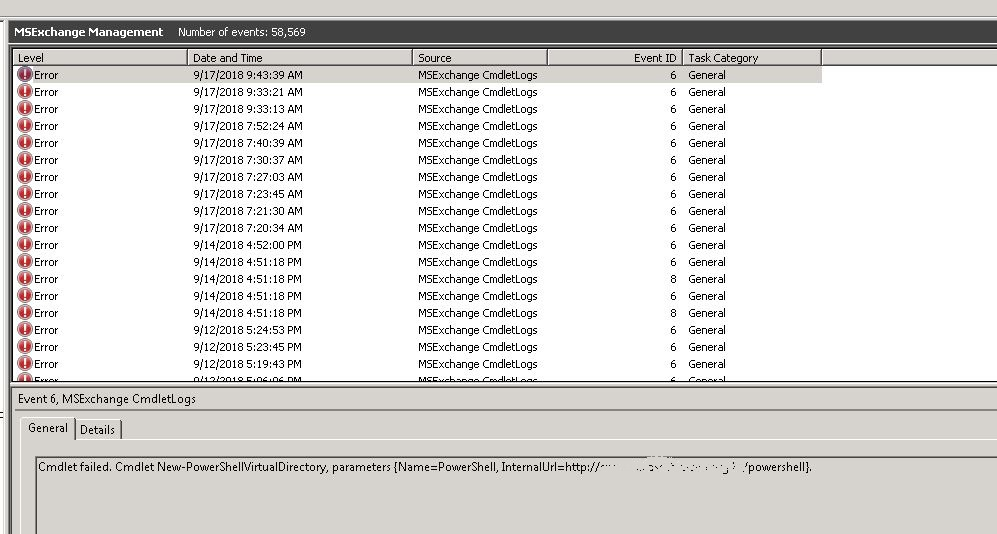 Exchange Server 2010 - Error to recreate Powershell Virtual Directory