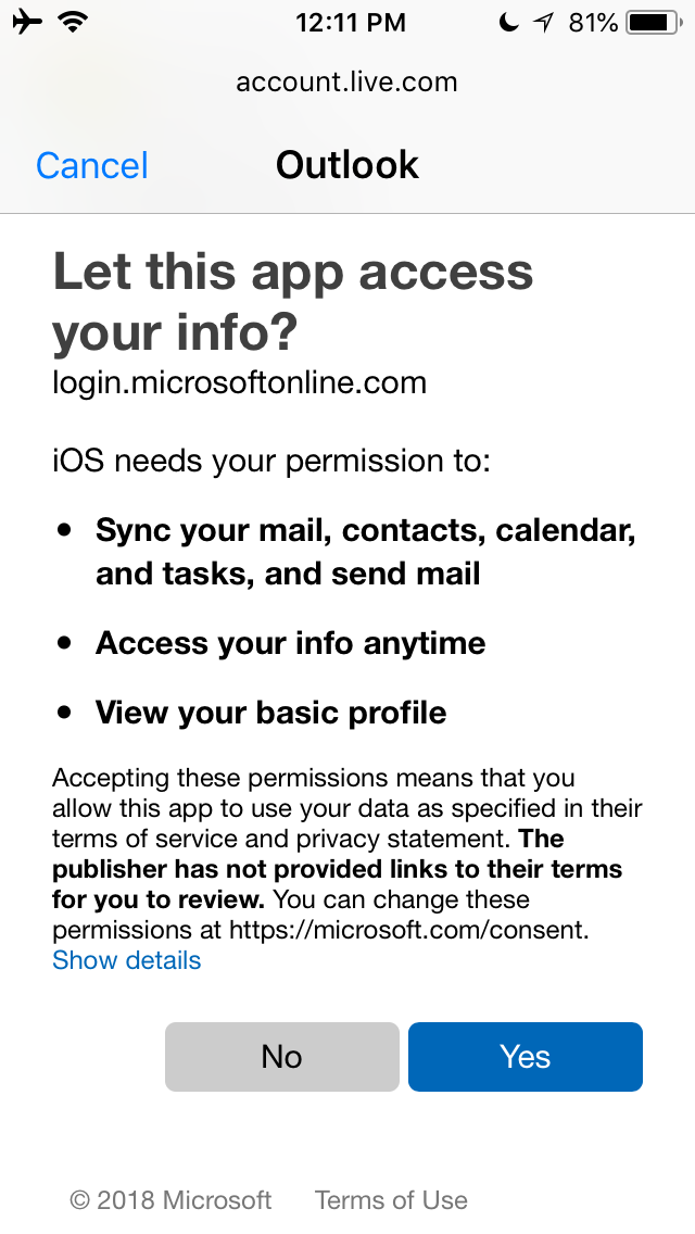 What the account will sync from Outlook