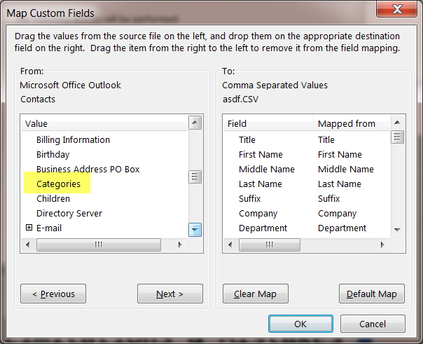 Outlook, Import / Export, To File, Map Custom Fields (Outlook 2016 Client)
