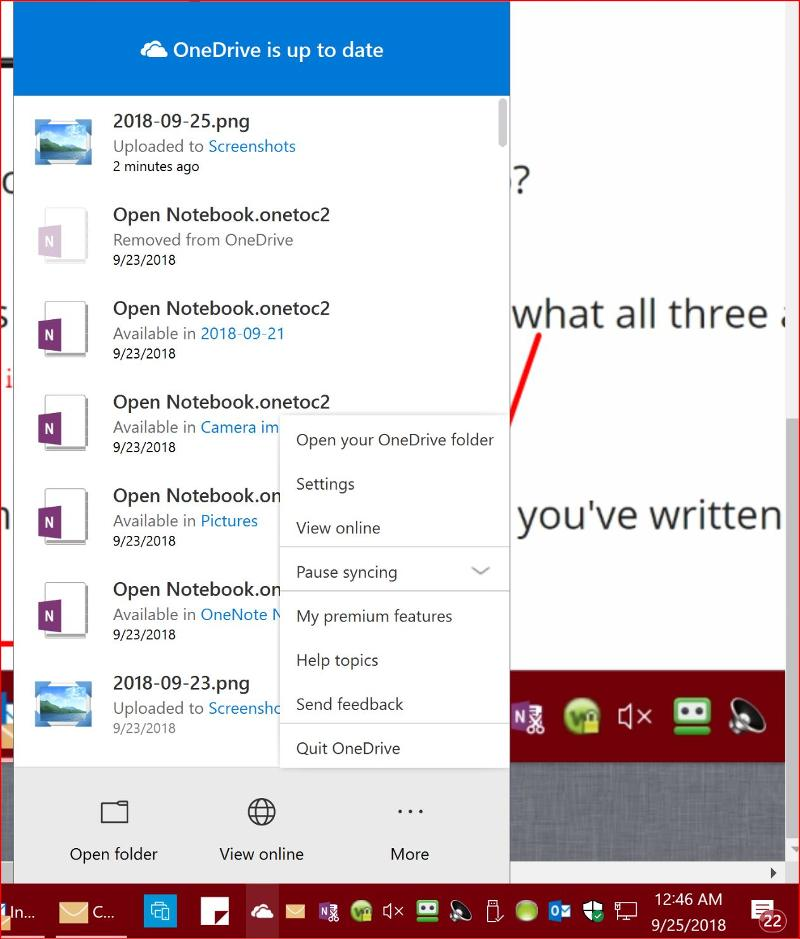 Clicking on One drive white cloud Icon in Taskbar U see this