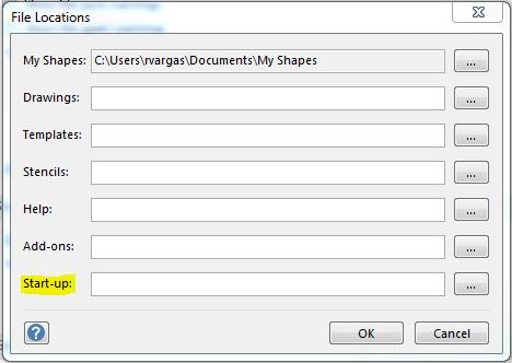 Vision 2013 File Locations Options
